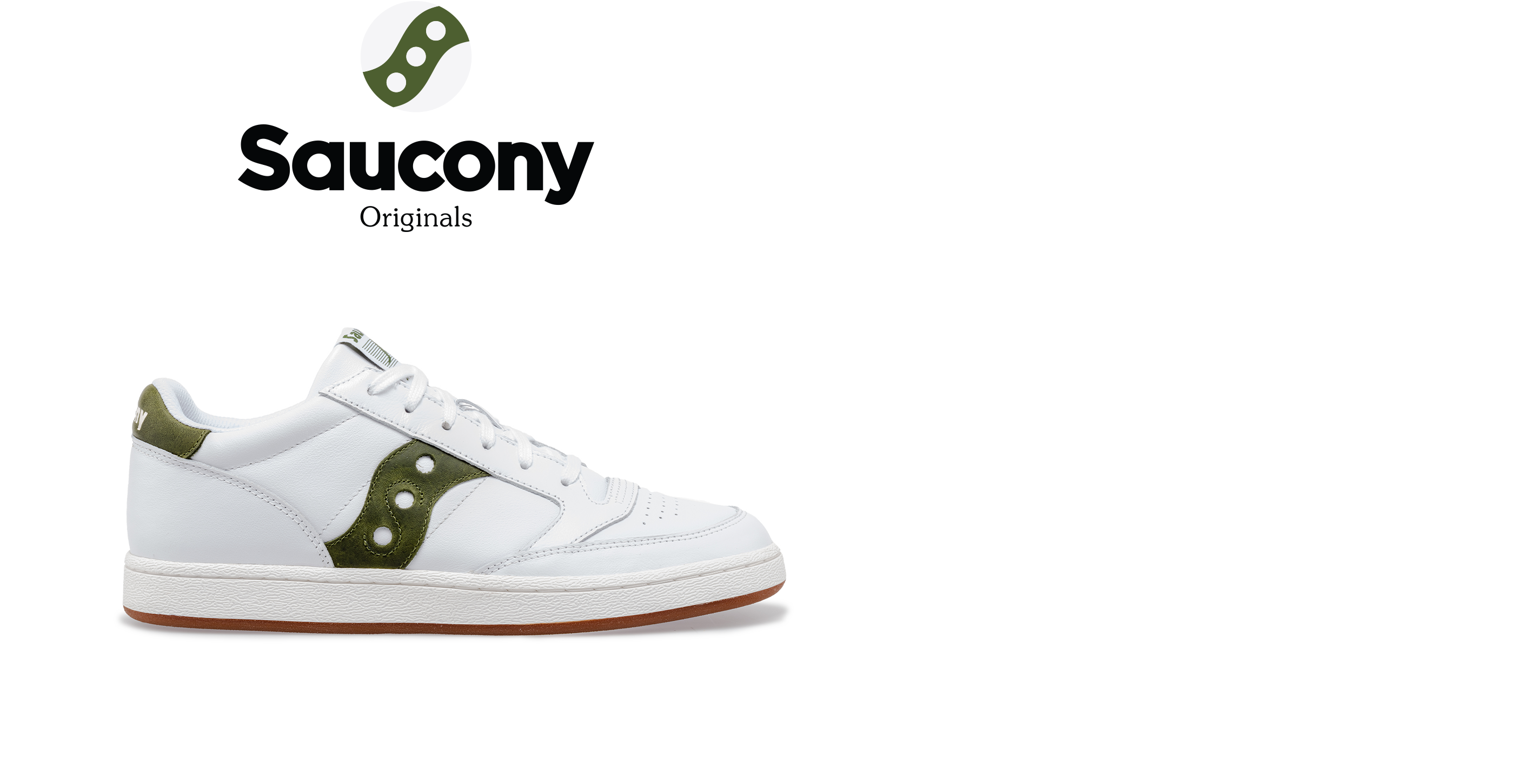 Saucony Jazz Court in white with green accents.